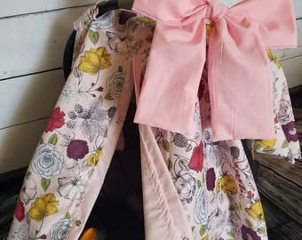 Carseat Canopy Girl Floral Cover with Large Bow