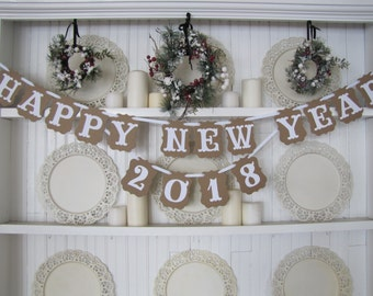 HAPPY NEW YEAR 2018 Banner, New Years Eve Sign, New Years Sign, Happy New Year, 2018, New Years Party Decoration