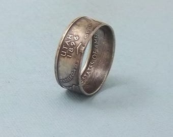 90% Silver Proof coin ring Utah State quarter year 2007 size 7 1/2,  jewelry unique  gift FREE SHIPPING