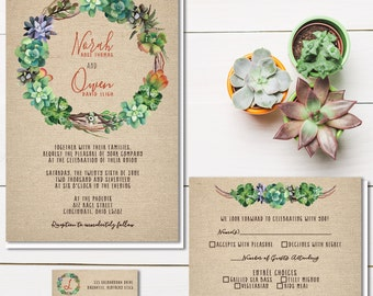 Rustic Succulent Wedding Invitations, Sample Set