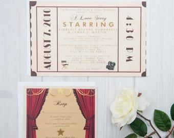 Theatre Ticket Wedding Invitation Suite   Old Hollywood Wedding Invites   Movie Ticket Invite Set   Art Deco Wedding Invitations   Gold