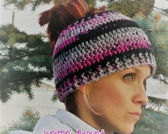 Finished Messy Bun Hat by Knittin' Around