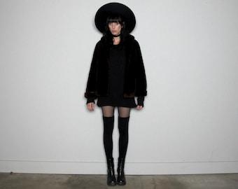 Dark MAROON FAUX FUR Vintage Cropped Coat Winter 60s Luxe Size M