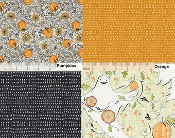 Best Day Ever, Ghosts, Pumpkins, Orange, Black, Halloween, Cori Dantini, Blend Fabric, 1/2 Yard