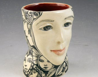 Black and white porcelain face mug cup OOAK hand made with cat and the word Magic