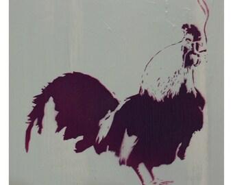 Chicken Painting Cock Art 10 x 10 THE COCKSMOKER Rooster Art Audubon Stencil Art Farm Chic Cottage Chic Spray Paint Acrylic Original Artwork