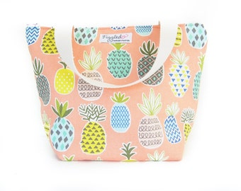 Insulated Tote-Style Lunch Bag with Waterproof Lining - Pineapple (Choose Your Size!)