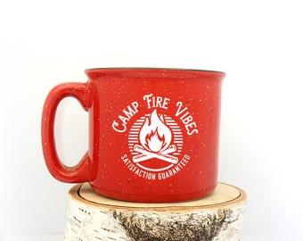 Camper Mug - Campfire Illustration - Screen Printed Speckletone Ceramic Mug