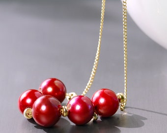Burgundy Pearl Necklace by Agusha. Pearl and Gold Filled Necklace
