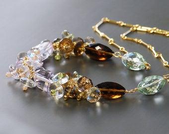 Gemstone Cluster Necklace by Agusha. Pink Amethyst, Green Amethyst, Whiskey Quartz, Lemon Quartz Necklace. Multi Gemstone Necklace
