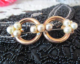 Gold Tone Faux Pearl AB RHinestone Brooch, Double Circle Pin