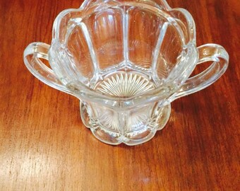 Vintage Clear Heavy Glass Candy Dish Bowl Handles