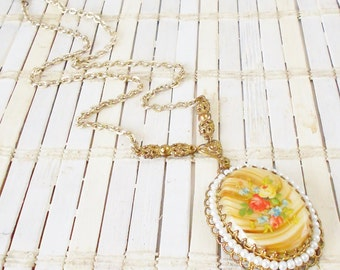 West German Floral Pendant Necklace, Flower Transfer Decal, Cream & Tan, Art Glass Cabochon, Seed pearl beads, Filigree pendant, Mid Century