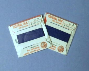 Natural Silk Cord With Needle - 2 packs - Size 4 - Dark Blue