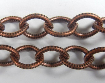 7mm etched texture oval link cable chain, copper ox plate over steel ,sold per foot, (BMC-102)