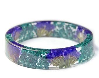 Purple and Teal Flower Bracelet - Purple Flower Jewelry- Resin Jewelry- Flower Bangle- Turquoise Flower Bracelet- Green Jewelry