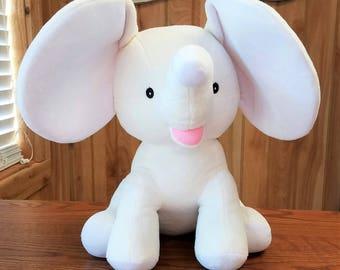 White Dumble Cubbies Elephant Personalized Baby Keepsake