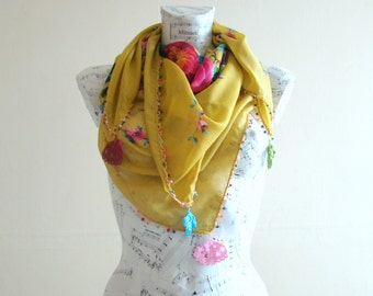 Summer scarf square cotton scarf cotton flower scarf crochet pareo wrap beach pareo fashion scarf summer scarfs crochet edge greenery scarf