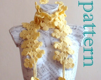 Crochet Double Flower scarf pattern crochet pattern crochet scarf pattern easy crochet scarf pattern crochet pattern scarf pattern crocheted