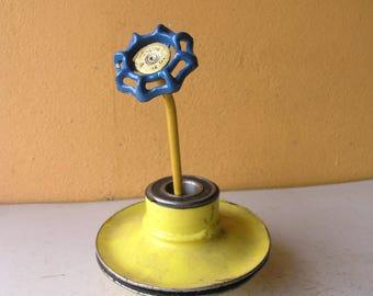 blue mini flower Indoor outdoor garden flower stake table desk office art flower lover mom gardener gift vase filler junk gypsy steampunk