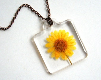 Yellow Daisy - Real Flower Garden Necklace -  botanical jewelry, flower jewelry, daisy necklace, Nature inspired jewelry, copper, resin,ooak