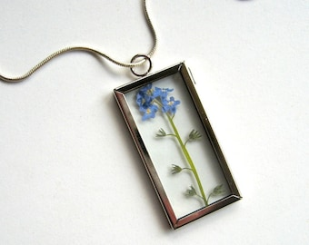 Forget Me Not - Real Flower Garden Necklace -  botanic jewelry, pressed flower, myosotis, Veronica Blue, Nature inspired, natural, eco, ooak