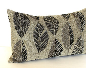 Lumbar Pillow Cover Feather Leaf Upholstery Fabric Decorative Pillow Oblong Brown Throw Pillow Cover 12x24 12x21 12x18 12x16 10x20