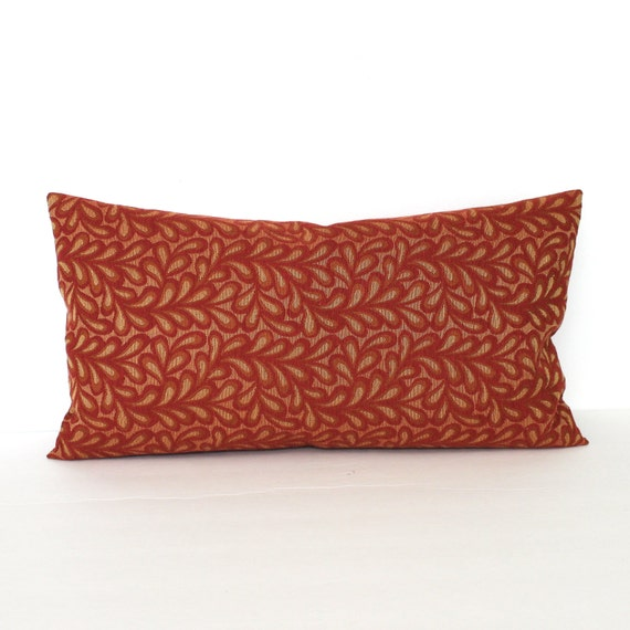 Red Gold Decorative Pillows : Lumbar Pillow Cover Brick Red Gold Leaf Vine Decorative Pillow