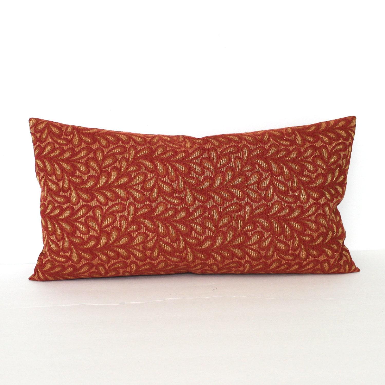 Lumbar Pillow Cover Brick Red Gold Leaf Vine Decorative Pillow