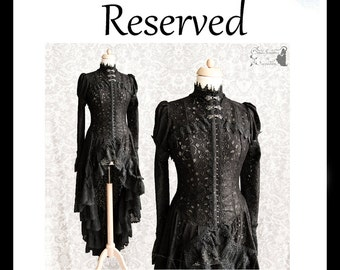 RESERVED Layaway part 3 of 3 Black Victorian Steampunk cardigan, Somnia Romantica, approx size medium, see item details for measurements