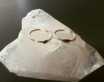 14K Gold Hoops - Solid Gold Hoops - 14K Gold Earrings - Small Hoop Earrings - 14K Gold Jewelry - Endless Hoops - Sleepers - Two Feathers