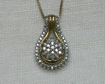 925 Silver & Diamond Pendant with Chain, Retro era Abstract
