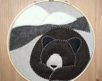 FELT BROWN BEAR hoop art - wall art - nursery room decor  - 100% wool felt