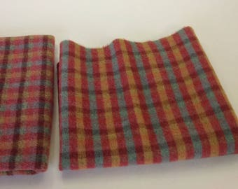 Santa Fe Check, Wool Fabric for Rug Hooking and Applique, Fat 1/4 Yard, W306, colorful wool check, rug hooking check