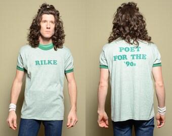 vintage 80s Rilke ringer t-shirt Poet for the 90s heather green ringer tee shirt 1980 1990 Rainer Maria Rilke poetry L/XL