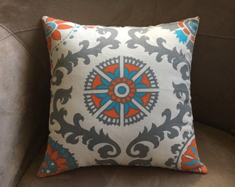 Cottage Style Pillow Cover Orange and Turquoise Print Pillow Cover