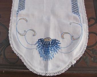 "Table Linens Handmade Embroidered Linen Cotton Table Runner Dresser Scarf Doily - 14"" x 44"" (#138)"