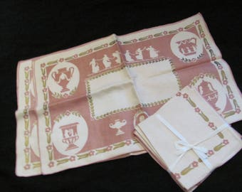 Set of 4 Pink Floral Vintage Place Mats and 4 Matching Napkins - Unused