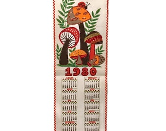 Vintage MUSHROOM Fabric Calendar Banner 1980 with ladybug and sequins, reds and orange