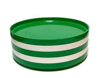 Vintage Mod HELLER Massimo Vignelli 5 pc Stacking Dinnerware Green White Set Dinner Plates Melamine Dishes - Architectural