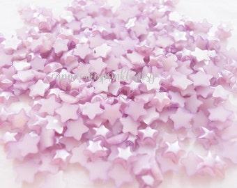 200pcs - 6mm Lilac Lavender Star Pearl Flatback Decoden PM10003