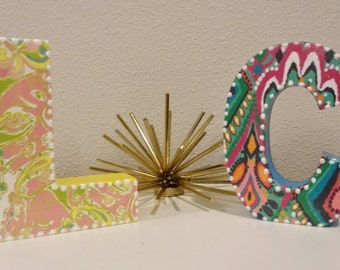 Lilly Pulitzer Inspired Letters Crown Jewels Chin Chin Letter L Letter C only by Mama Duck Creations PRICE DROP CLEARANCE