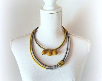 Statement necklace, modern multistrand necklace, minimalist crochet necklace, unique gift for her, grey and yellow necklace