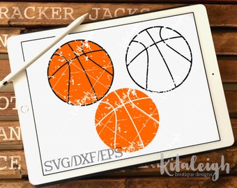 Distressed Basketball INSTANT DOWNLOAD in dxf, svg, eps for use with programs such as Silhouette Studio and Cricut Design Space