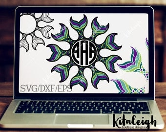 Mermaid Mandala-2 INSTANT DOWNLOAD in dxf, svg, eps for use with programs such as Silhouette Studio and Cricut Design Space