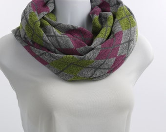 Argyle Sweater Knit Infinity Scarf  - SOFT Gray, Raspberry and Lime Green~ WL041-L5