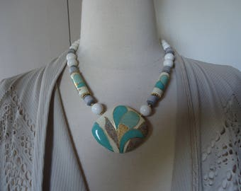 Vintage Japan Ceramic, Plastic and Gold Tone Metal Beaded Pendant Necklace, Painted Beads and Pendant, Circa 1980s Jewelry