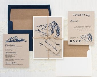 "Mountain Wedding Invitations, Kraft Envelope Liner, Navy, Taupe, Ivory, Jute Twine, Recycled Paper- ""Rustic Mountain"" Sample"