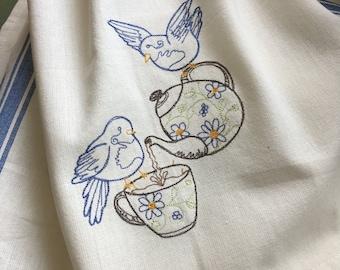 Two for Tea Sweet Bluebirds having tea design embroidered towel