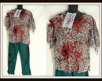 Zombie Costume. Bloody Surgeon. 3 pc Bloody Scrubs. ZOMBIE NURSE UNIFORm. Heart Top & Green Pants. Halloween Costume. Zombie Dr. adult XS